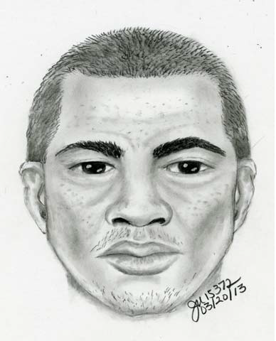 Identity of Sexual Assault Suspect Sought. The suspect is described as a male in his mid-20s, about 6 feet tall weighing 180 pounds. He has brown hair and brown eye. He was driving a red older model Chevy Camaro with a t-top.